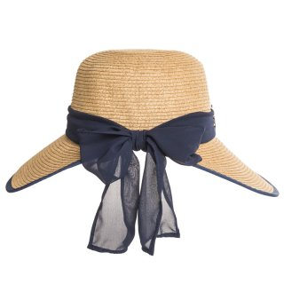 Wholesale ladies luxury straw hat with blue ribbon band and bow
