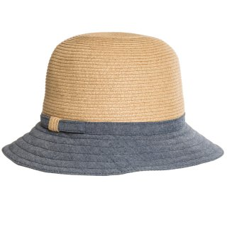 Wholesale ladies luxury straw hat with detail blue brim