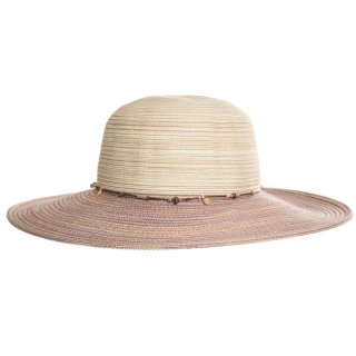 Wholesale ladies luxury straw hat with purple detailed band and brim