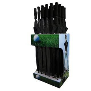 Wholesale windproof black golf umbrellas in display box