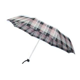 U72 - PK OF 3 UNISEX BROWN CHECK UMBRELLAS