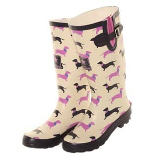 WF110-Ladies cream sausage dog printed matt rubber wellington