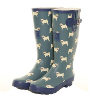 Wholesale ladies blue pug printed matt rubber wellington