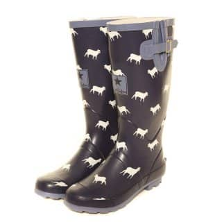 Wholesale womens blue sheep printed matt rubber wellington