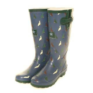 Wholesale womens blue duck printed matt rubber wellington