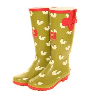 Wholesale womens green chicken printed matt rubber wellington