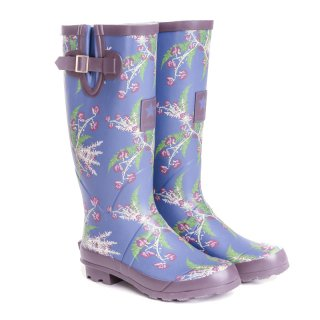 WF135- WOMENS LEAF/FLOWER PRINTED MATT RUBBER WELLINGTON