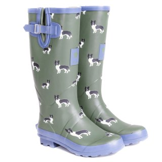 Wholesale womens sheepdog printed matt rubber wellington
