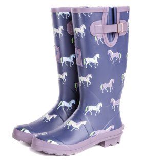 WF137- WOMENS HORSE PRINTED MATT RUBBER WELLINGTON