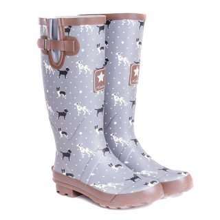 Wholesale womens dog printed matt rubber wellington