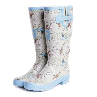 Wholesale womens bird printed matt rubber wellington
