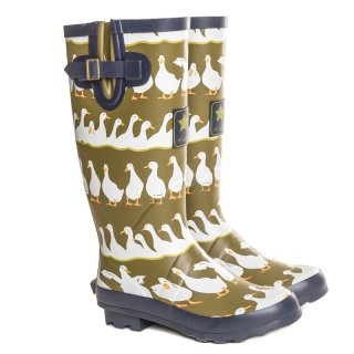 Wholesale womens green duck printed matt rubber wellington