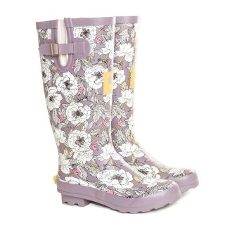 Wholesale womens floral printed matt rubber wellington