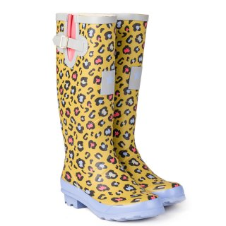 Wholesale womens mustard leopard printed matt rubber wellington
