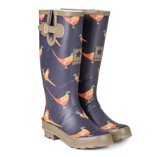WF144 - WOMENS PHEASANT PRINTED MATT RUBBER WELLINGTON