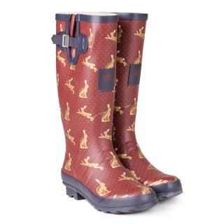 Wholesale womens Wine Rabbit Printed Matt Rubber Wellington