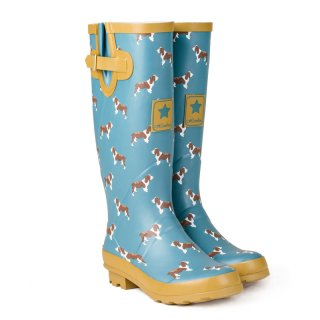 Wholesale womens blue dog printed matt rubber wellington