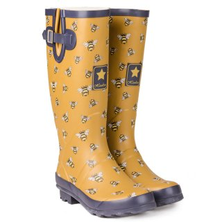 Wholesale womens bumble bee printed matt rubber wellington