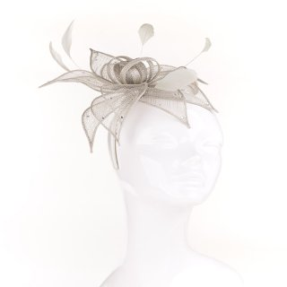 Wholesale green sinamay headband with diamonte flower with loops and feathers