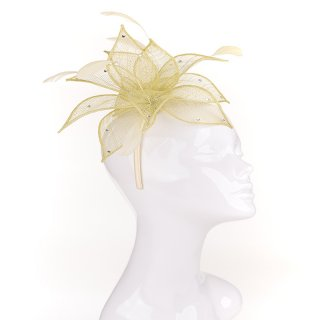 Wholesale light green sinamay flower with diamontes on headband