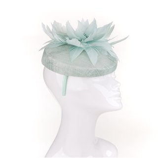 Wholesale blue sinamay pillbox with large feather flower