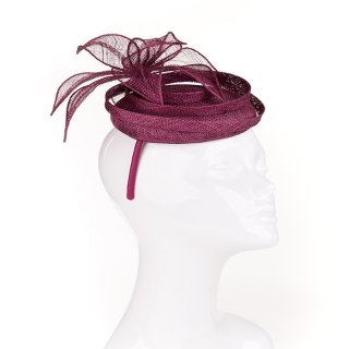 Wholesale sinamay form fascinator with flower and beads in purple