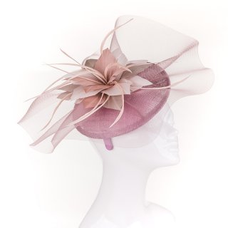 Wholesale sinamay fascinator headband with gathered crin flower in green