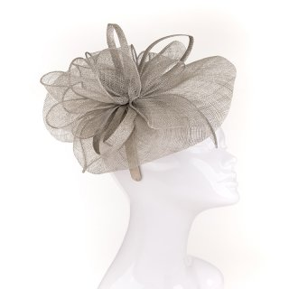 Wholesale sinamay fascinator on headband with ruffles in dark green