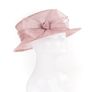 Wholesale short brim sinamay wedding hat with knitted bow trim in yellow