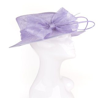 Wholesale short brim sinamay wedding hat with quill in light purple