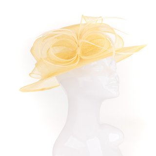 Wholesale yellow short brim sinamay wedding hat with twist trim