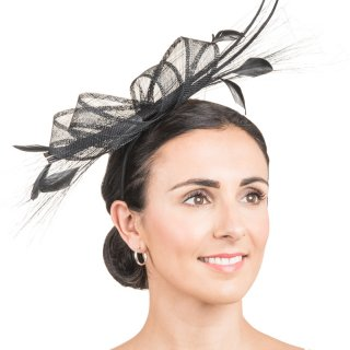 Wholesale fascinator with double looped quill and feathers in black