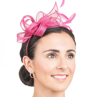 Wholesale fascinator headband with bows & flowers & feathers in pink