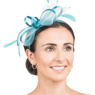 Wholesale light blue fascinator with satin loops & feathers
