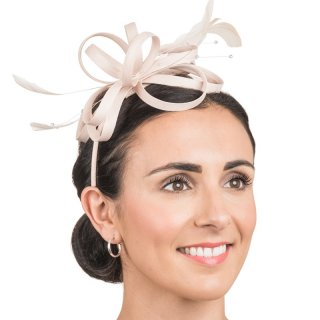 Wholesale satin fascinator headband with feathers in champagne