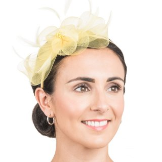 Wholesale crin bow with feathers on fascinator headband in yellow