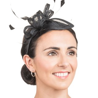 Wholesale black sinamay fascinator headband with feathers