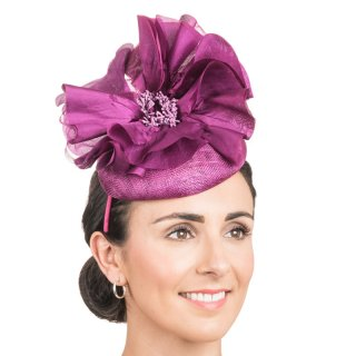 Wholesale sinamay disc with flower & netting in dark purple