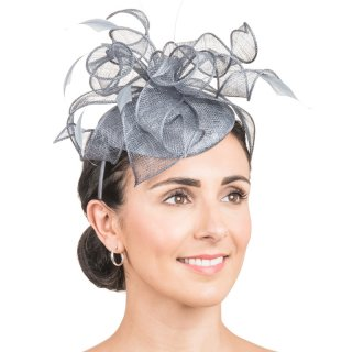 Wholesale sinamay disc with loops & feathers in colour grey