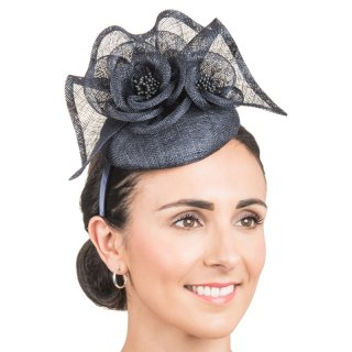 Wholesale sinamay fascinator with flower & ruffles in dark blue