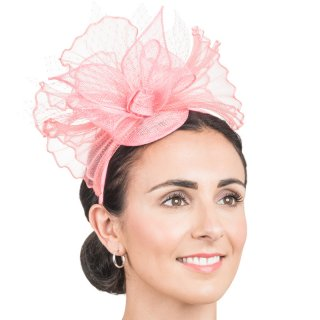Wholesale light pink sinamay fascinator with bow, crin ruffle & netting