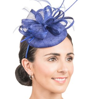 Wholesale Sinamay fascinator disc with bow & double looped quills in light purple