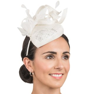Wholesale Sinamay fascinator with feathers & twisted trim in ivory