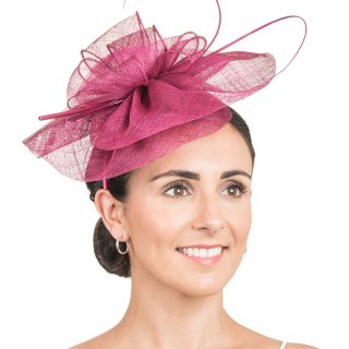 Wholesale Sinamay fascinator with bow & double looped quills in damson