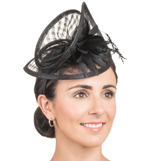 Wholesale sinamay fascinator with feather flower in ivory