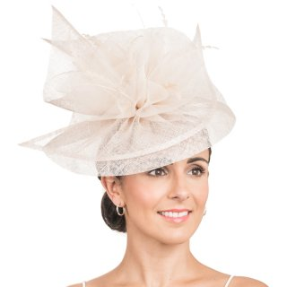 Wholesale sinamay fascinator disc with crin ruffles and feathers in black