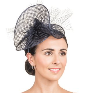 Wholesale sinamay fascinator with net details in navy