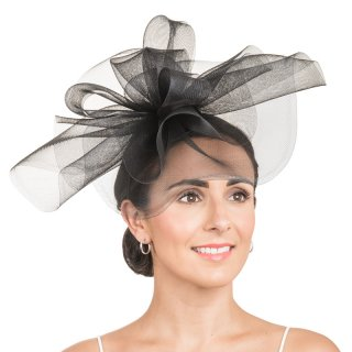 Wholesale crin fascinator disc with crin ruffle in black