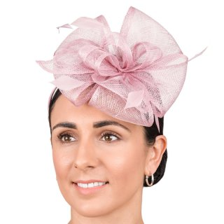 Wholesale fascinator with sinamay bows and feather on headband