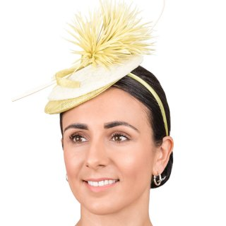 Wholesale sinamay fascinators with double disc design and feather quill & netting